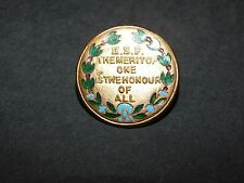 BRASS ENAMEL BADGE HSF THE MERIT OF ONE IS THE HONOUR OF ALL