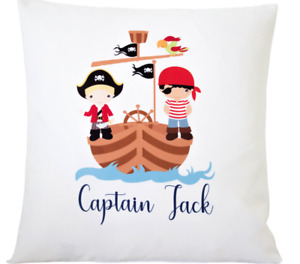 """Personalised pirate - 16"""" white cushion cover pirate themed boys nursery gift"""