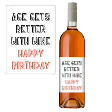 "Funny Wine Bottle Label Gift For Men & Women ""Age Gets Better With Wine"""