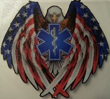 "EMS-SOL Eagle American Flag vinyl decal EMT, custom made, 2.25"" wide  #EF12"