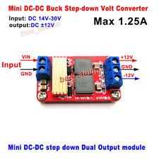 Mini DC-DC Buck Step-Down Volt Power Converter DC15v-30v 24v to ±12V Dual Output