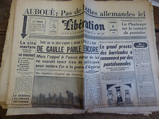 libération n° 5030 du  4 novembre 1960 ; auboué - de gaulle parle - salan