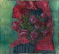 """Russischer Realist Expressionist Öl Leinwand """"Rosen"""" 110x100 cm"""