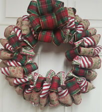 Christmas Ribbon Fabric Front Door Wreath
