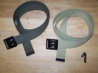 2 Belts Canvas Cotton Vintage Military Web Metal Buckle USMC Marine Khaki Jean