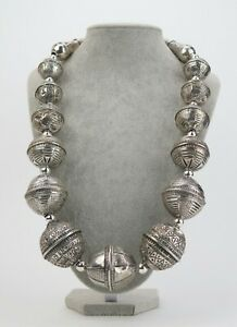 Yemen coin-silver large Zaydiya bead necklace
