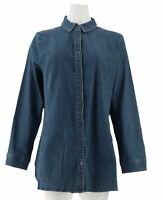 A284568 Denim & Co. Regular Long Sleeve Button Front Shirt Blue Size 2XS