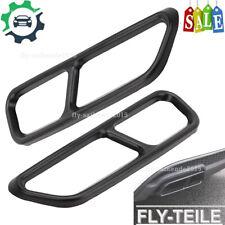 2 x Schwarz Chrome Auspuffblenden Edelstahl Abdeckung Auspuff Für Audi A6 C7 A7