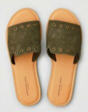 Aeo American Eagle Olive Green Suede Slide Strap Sandals Sz 6 NEW