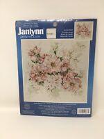 JanLynn Cross Stitch Kit Garden Roses Pink Green Counted Stitchery #106-0057 NIP