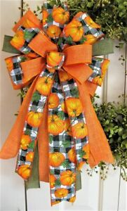 """10 """" FALL PUMPKIN BOW for DOOR WREATH SWAG GARLAND MAIL FENCE POST # 28 fdec"""