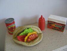 FISHER PRICE FUN FOOD● TACO BOX CHEESE MEAT HOT SAUCE LETTUCE TOMATO CHERRY COLA