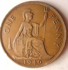 1940 GREAT BRITAIN PENNY - Excellent Vintage Coin - Britain Bin #5