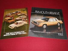 1984 PLYMOUTH RELIANT SALES CATALOG plus FULL-LINE '84 BROCHURE, 2 for 1 Deal!