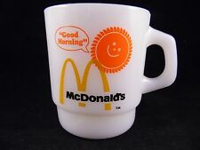 VINTAGE WHITE FIRE KING MCDONALDS COFFEE MUG