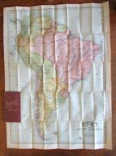 South American 1892 folding pocket map cloth gilt case scarce Rand McNally