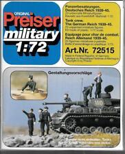 Preiser Military Unpainted WW2 German Tank Crew 1939-45,  20 Figures 1/72 72515