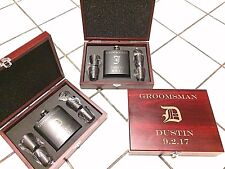 7 Personalized Engraved Whiskey Flasks Groomsmen Gift Custom Unique Wood Case
