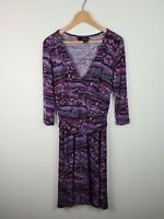 TOKITO 3/4 Sleeve Purple Ruched Waist Fit & Flare V-Neck Dress Women's Size 14
