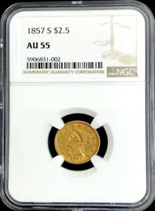 1857 S GOLD LIBERTY HEAD $2.5 QUARTER EAGLE COIN NGC ABOUT UNC 55 SCARCE DATE