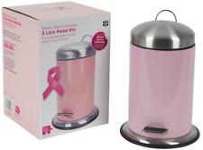 Rose poubelle à pédale pour salle de bain chambre à coucher 3 litres acier inoxydable poubelle petit