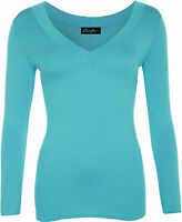 New Women's Plain V Neck Ladies Long Sleeve Stretch T-Shirt Top Size 16 18 20 22
