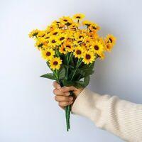 1 Bouquet 14 Teste Fiore Artificiale Finto Piccolo Girasole Casa Matrimonio