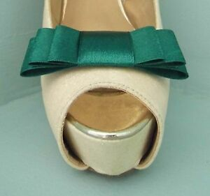 2 Green Triple Bow Clips for Shoes - other colours on request