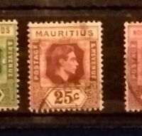 MAURITIUS KING GEORGE V1 1938-49 25c SG259 FINE USED OLD STAMP SCARCE 13181118