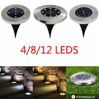 4/8/12 LED Solar Power Ground Lights Floor Decking Outdoor Garden Lawn Path Lamp