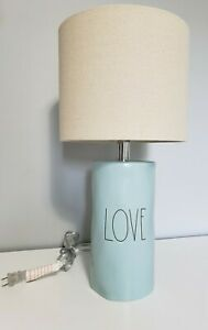 NEW! Rae Dunn 'LOVE' LL Pastel Blue Ceramic Table Lamp and Shade Black Letters