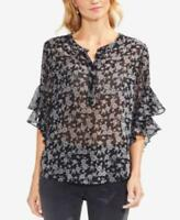 Vince Camuto Womens Black Flutter Sleeve Ditsy Roses Henley Blouse XS $79 {&}