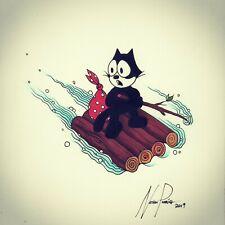 Felix The Cat Original Ink Drawing black cat celebrity rafting animal camping