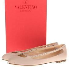 NEW VALENTINO POUDRE LEATHER STARDUST CRYSTAL ROCKSTUD BALLERINA FLAT SHOES 40