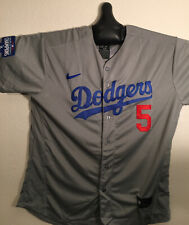 Corey Seager #5 Los Angeles Dodgers Men's Gray Nike Jersey W/ 2020 WS Patch