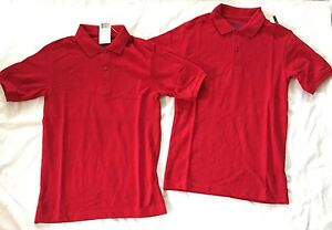 NWT 2 Boys  M(10/12) IZOD Red Short Sleeve Uniform Polo Shirts Tops