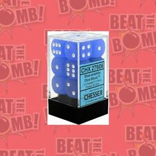 D6 Dice Frosted 16mm Blue/white (12 Dice In Display)  - BRAND NEW