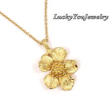 Rare Vintage Tiffany & Co 18K Gold Wild Rose Dogwood Flower Chain Necklace 16""