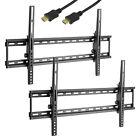 2 Flat TV bracket HDMI Wall Mount Tilt LCD Plasma LED 32 37 40 42 46 47 50 55 60