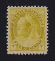 Canada Sc #81 (1902) 7c olive yellow Queen Victoria Numeral Mint VF NH