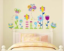 Wall Stickers Owl butterfly flower boy girl baby nursery room kids decor decals