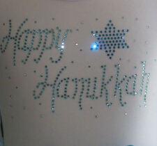 "7.6"" Happy Hanukkah iron on hot fix rhinestone transfer DIY applique decal patch"