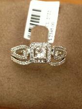 White Gold Halo Vintage Princess Cut Diamonds Engagement Bridal Wedding Ring Set