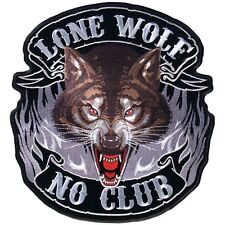 LONE WOLF NO CLUB  DELUXE BIKER PATCH  biker iron on