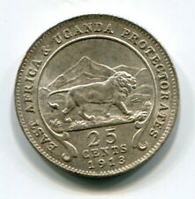 EAST AFRICA AND UGANDA 25 CENTS 1913 SILVER BU SCARCE