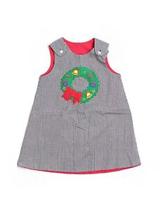 Toddler Girl Rosalina Gingham Wreath Holiday Reversible Red Dress Jumper Size 3T