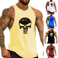 Mens Gym Tank Top Singlet Punisher Bodybuilding Vest Sleeveless Sports T-Shirt