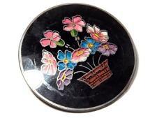 Antique Czech Victorian reverse hand painted flower basket glass pin brooch