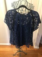 Veronika Maine Blue Lace With Black Cami Short Sleeve Top 14