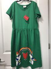 NWT Hanna Andersson 160 (14) Cotton Twirl Dress Green Rainbow Bird Girl